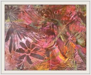 01-A5. Rich Summer Floral. Oil Pastel Technique.