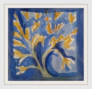 02-7cmx7cm. Golden Tree. Watercolour.