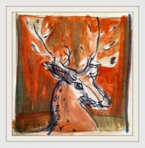 06-7cm X7cm. Stag\'s Head. Watercolour.