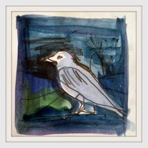 08-7cmx7cm.Night Crow. Watercolour.
