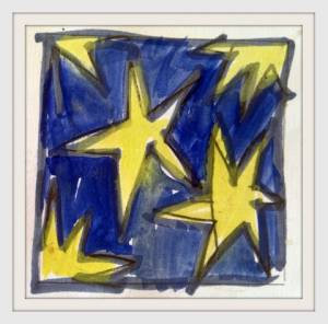 09-7cmx7cm. Bright Stars, Watercolour.