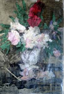 13-A2.White,red Flowers In Vase. Grey Background. Collage