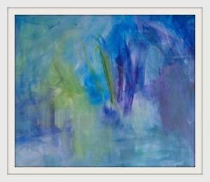 15-35cmx40cm Blue Grren Water Landscape. Abstract. Acrylic - Copy