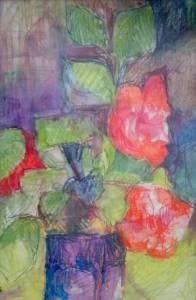 17-A2. Camelia. Blue Vase. Water Colour Crayon