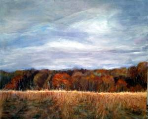 22-40x50cm.Autumn Millgate Fields. Acrylic
