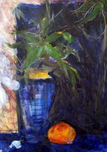 24-A3. Night Time Still Life, Orange. Acrylic, Pencil