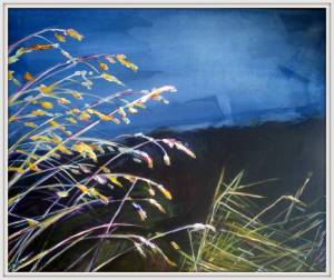 31-40x50cm.Gold Grass At Night. Acrylic.