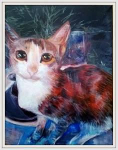 7-30x40cm. Stray Cat. Acrylic